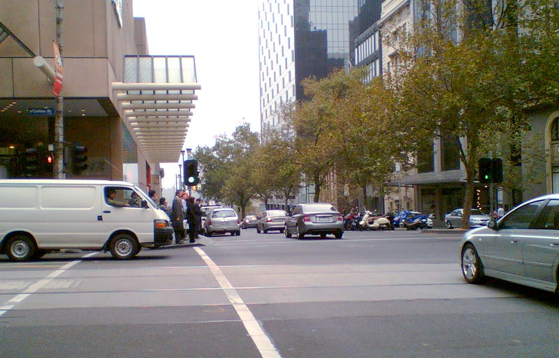 Blocking the pedestrian crossing, April 2007