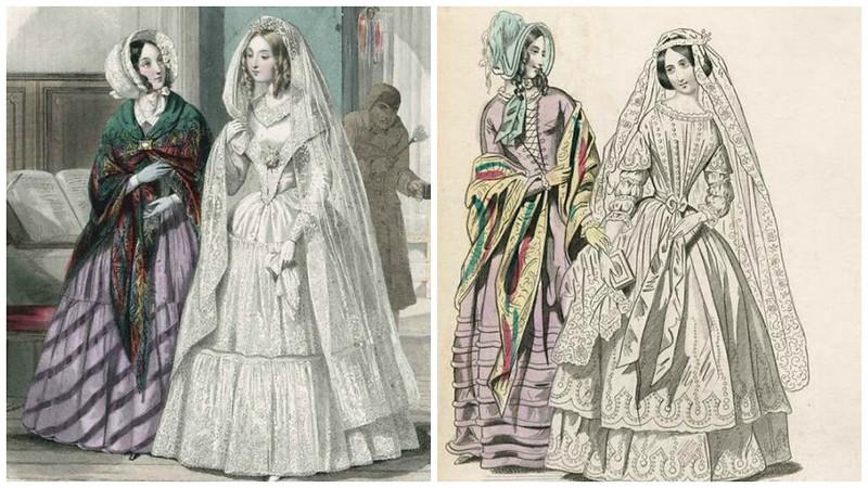 Свадебные платья 1840е