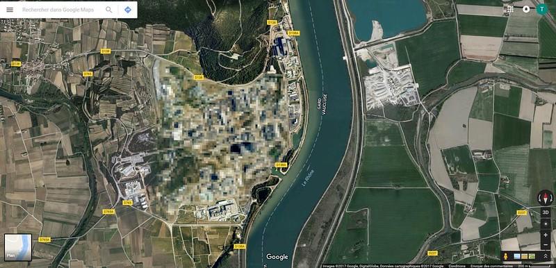 floutage sur google maps, site nucleaire de marcoule