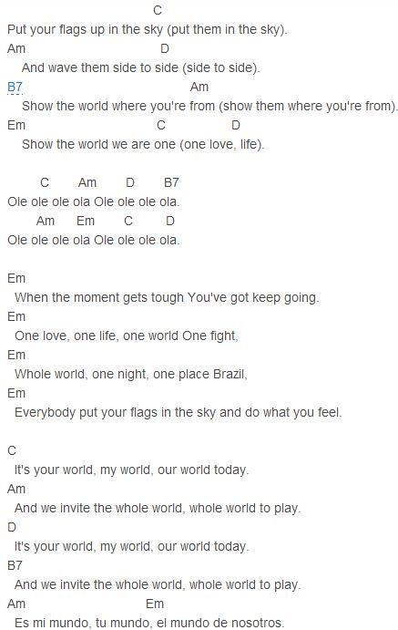 Pitbull - We Are One (Ole Ola) Chords Capo 2   Pitbull - We …   Flickr