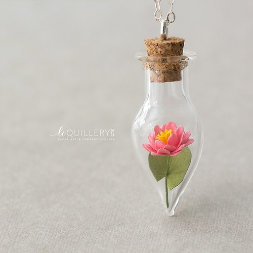 Le Quillery Paper Water Lily Vial Pendant
