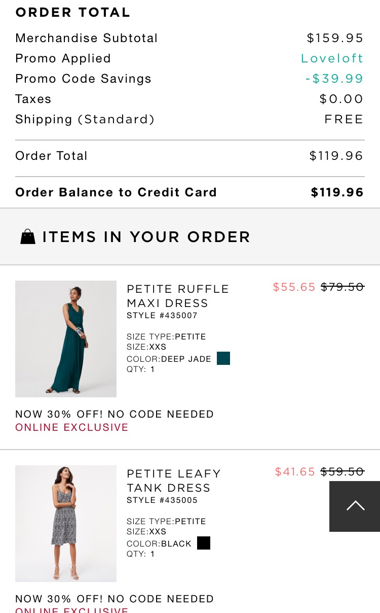 LOFT Order 4/6/17 with code #LOVELOFT