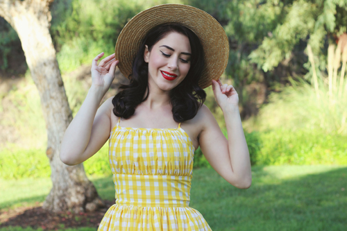 Hearts and Found Grace Dress Lemonade Stand in Yellow Checkered Gingham Print