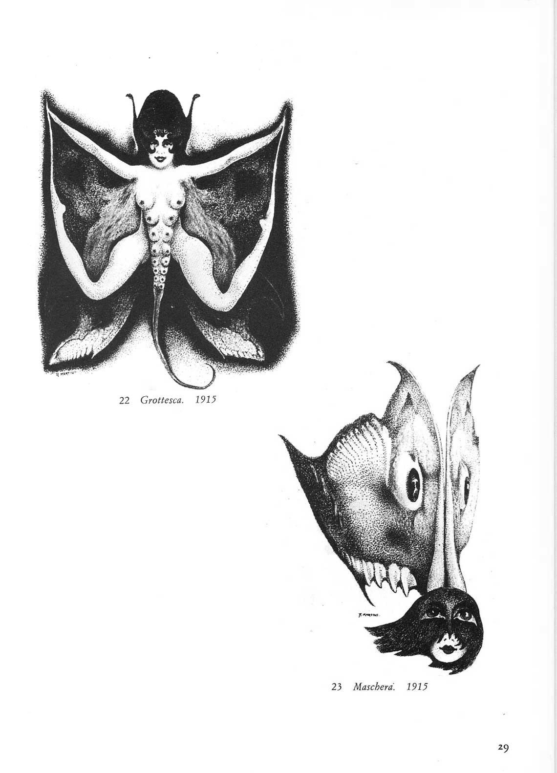 Alberto Martini - Grotesque, Mask, 1915