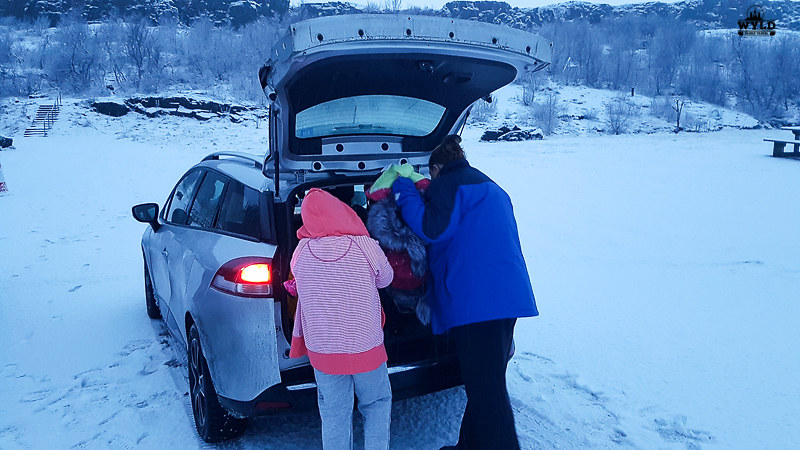 Getting warm clothes outof our hi in iceland