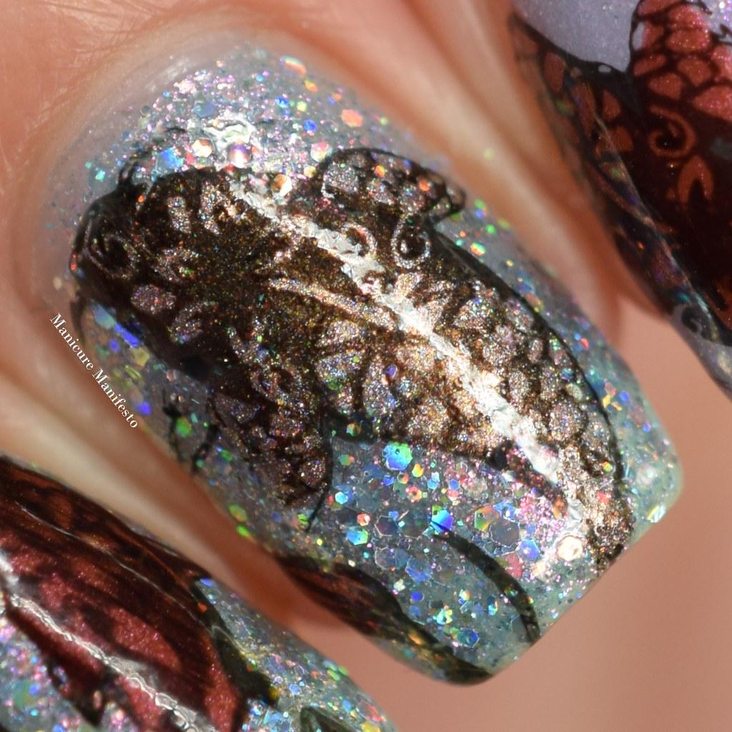 Koi fish nail stamping