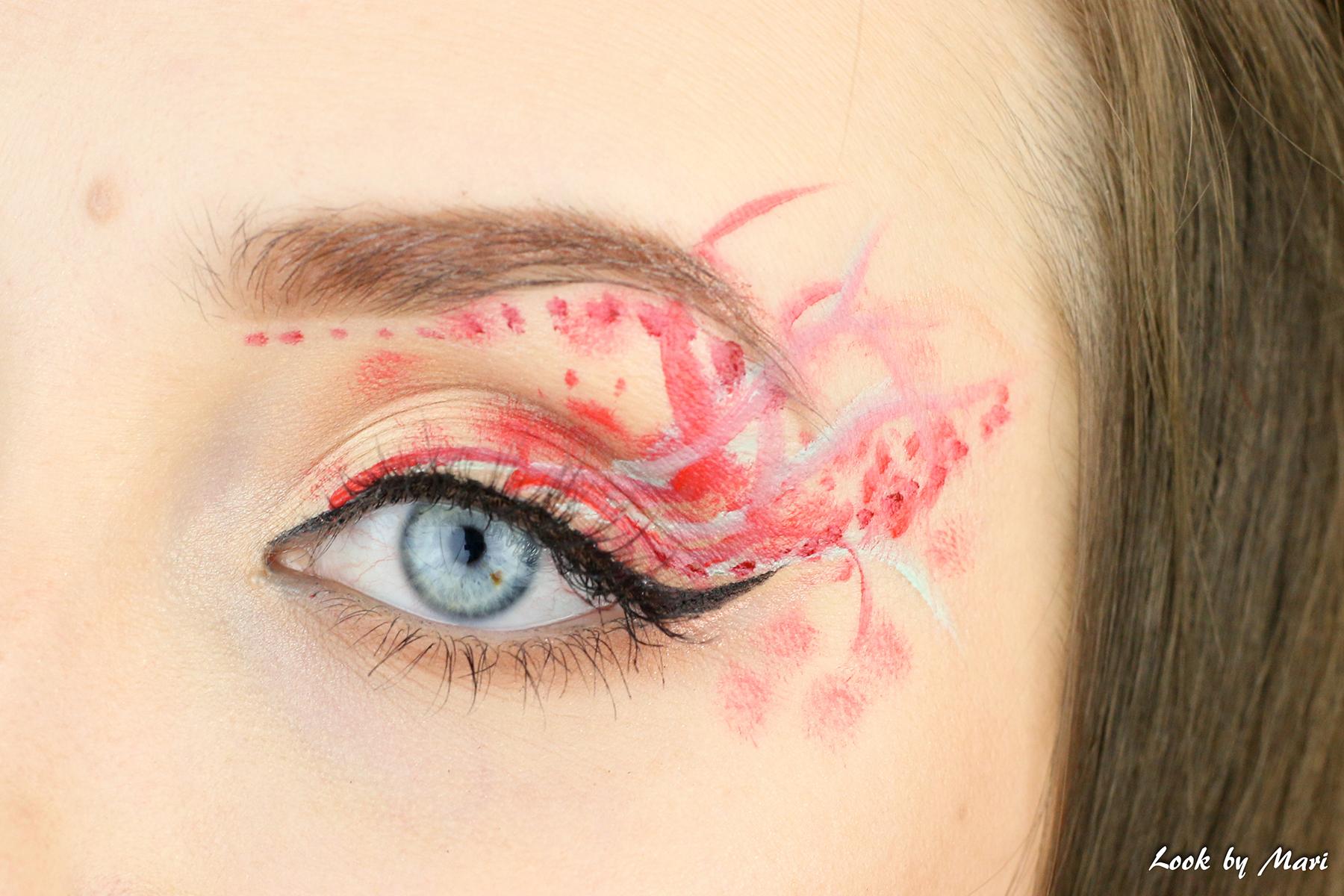 4 silmämeikki taide punainen vihreä silmämeikki ideat tutoriaali inspiraatio taiteellinen meikki