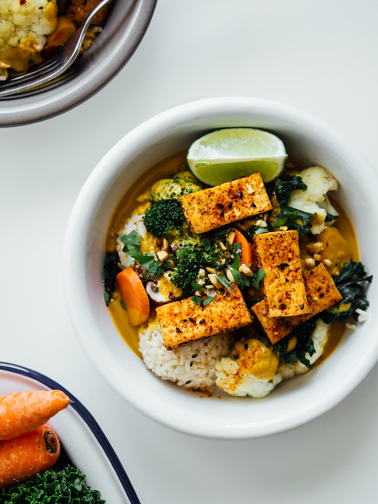 Spicy peanut + coconut curry bowls