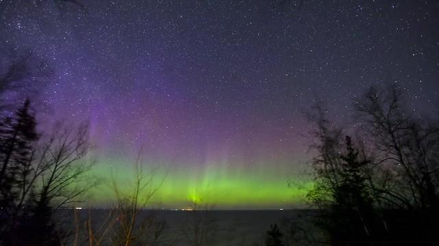 Dancing Aurora over Lake Superior