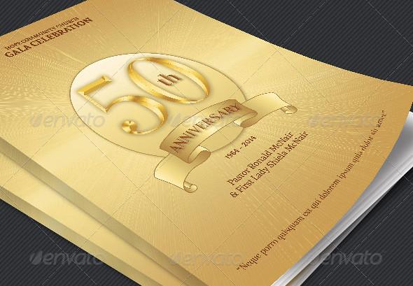 Pastor Golden Anniversary Program Cover Template The