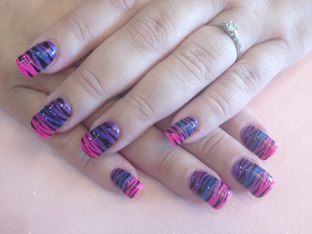 acrylic nails with pink blue and purple fade with zebra pr… | flickr