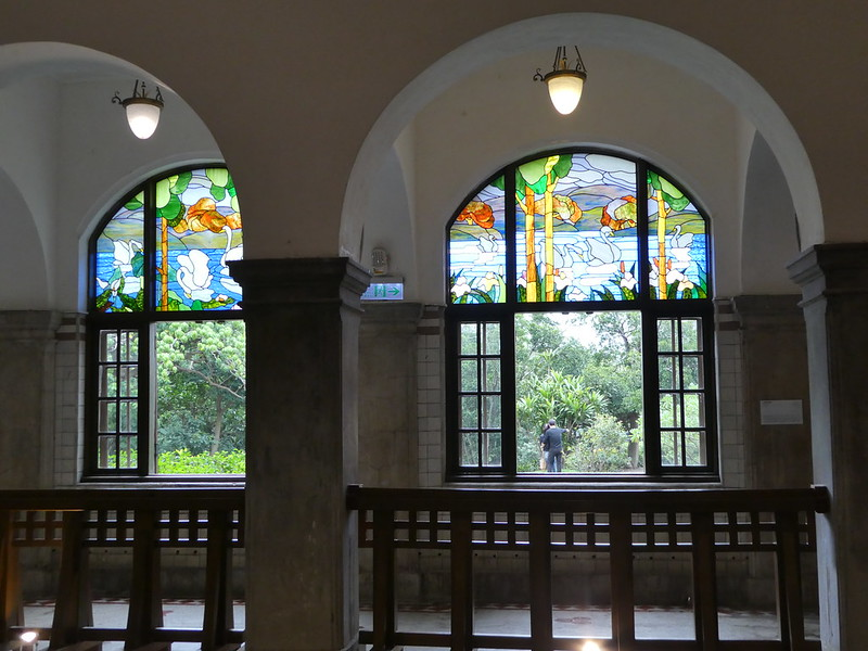 Stained glass windows in the Beitou Hot Springs Museum