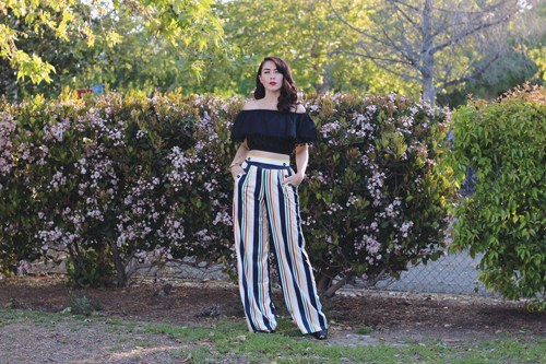Hearts and Found Bardot Top in Black Voodoo Vixen Hailey Striped High Waist Trousers