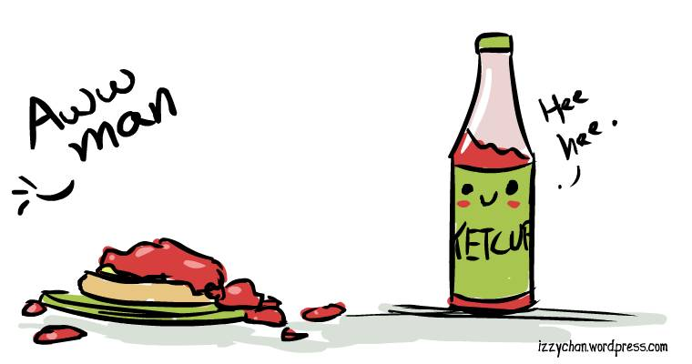 ketchup bottle mess
