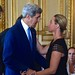 Secretary Kerry Greets Italian Foreign Minister Mogherini Before Paris Meeting Focused on Gaza Cease-Fire