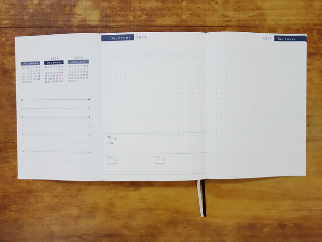 聰明的拉頁設計,可以看上個月、本月、下個月的月曆,也可以看本月里程碑是否完成@W2Design 好聰明2017拉頁時效週記手帳