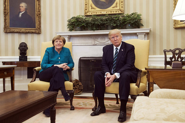 Trump and Merkel not shaking hands