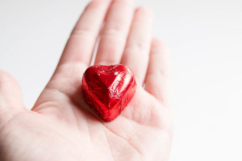 Heart shape foil wrapped chocolate
