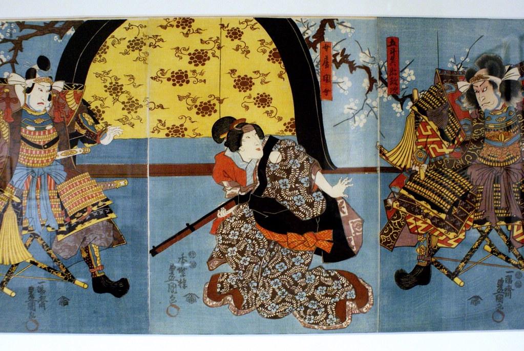 """Utagawa Kunisada """"Deux samurai et une femme avec un fusil"""" (1849) au musée Poggi de Bologne."""