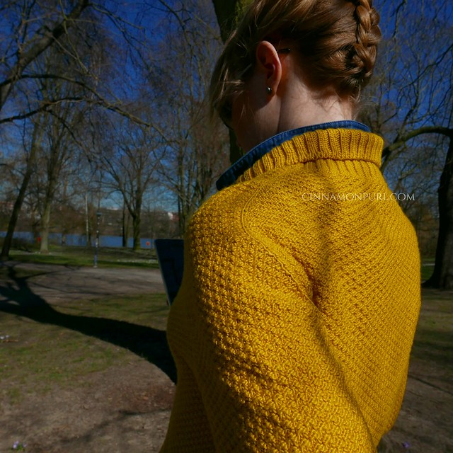 contiguous sleeve yellow cardigan