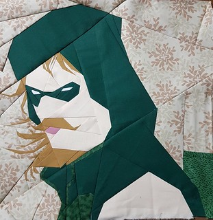 Paper pieced superhero GREEN ARROW. Pattern on fandominstitches.com Pieced by Hannah Hughes