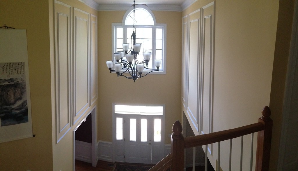 Two Story Foyer Paneling : Shadow box wainscoting on two