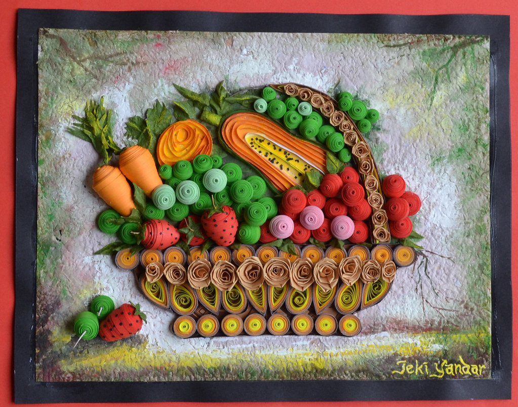 Fruits paper quilling fruits paper quilling www for Big quilling designs