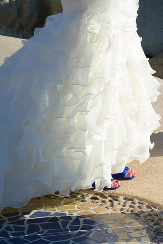 Wedding Dress and Blue Shoes | by nan palmero