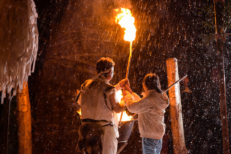 008 Traditional ritual ceremony of snow and fire in the village in the mountains,Otari,NAGANO 2017