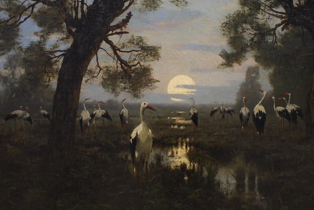 """Malecki """"Sejm bociani"""" (1879) : L'assemblée des cigognes au musée des Beaux Arts du 19e à Cracovie."""