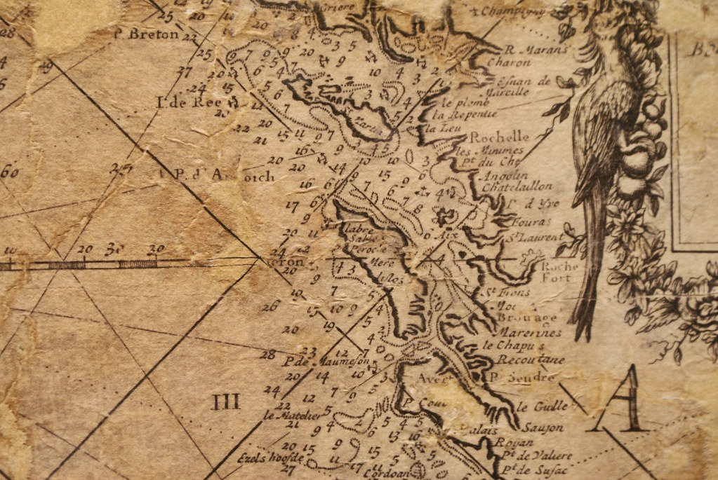 Carte oceanique avec la profondeur sous marine autour de l'île d'Oléron en France.