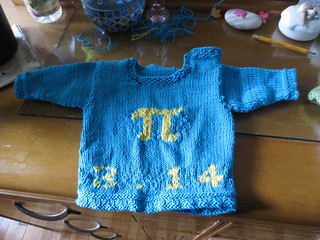 Pi Baby Sweater: front, unblocked | by Terriko