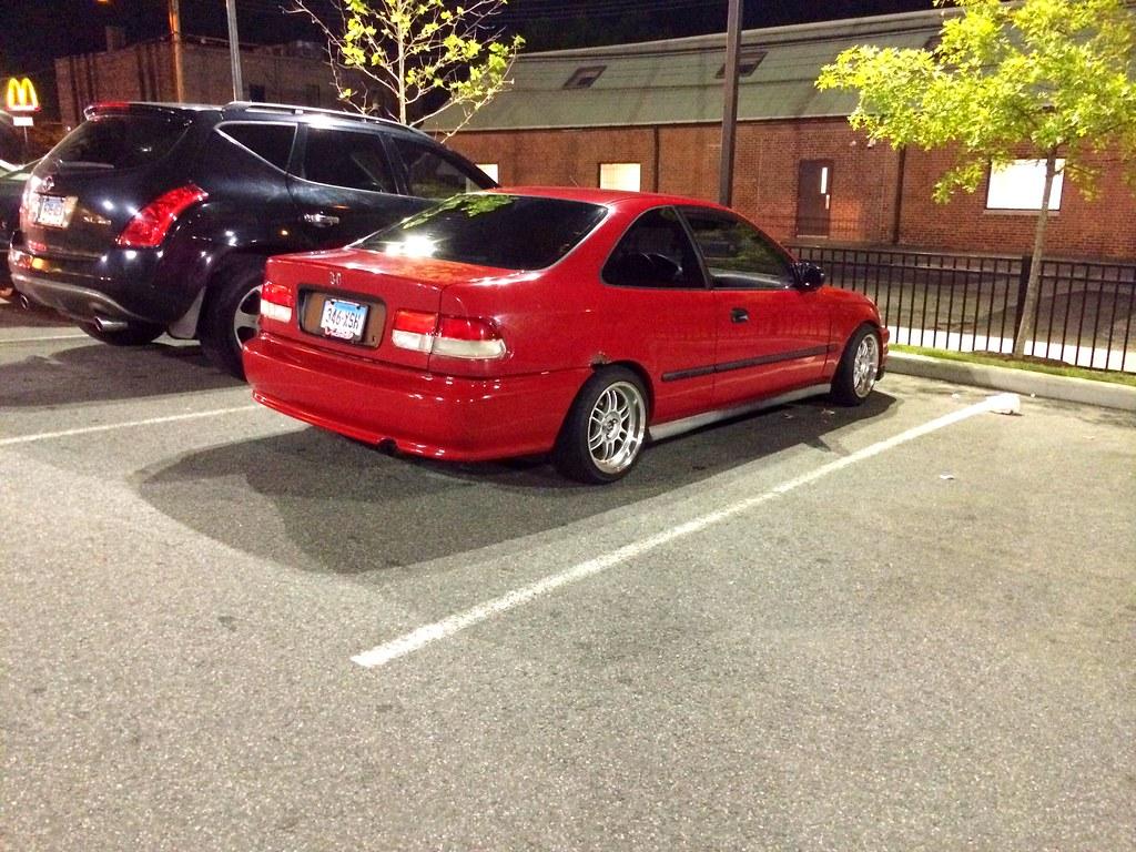 Civic Ek Sedan >> Chillin at popeyes #honda #civic #ek #coupe #jdm #red | Flickr