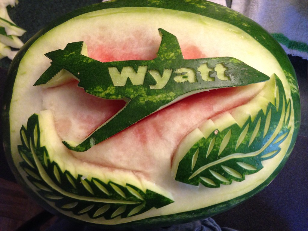 Aviation watermelon carving watermelon fruit carviu flickr