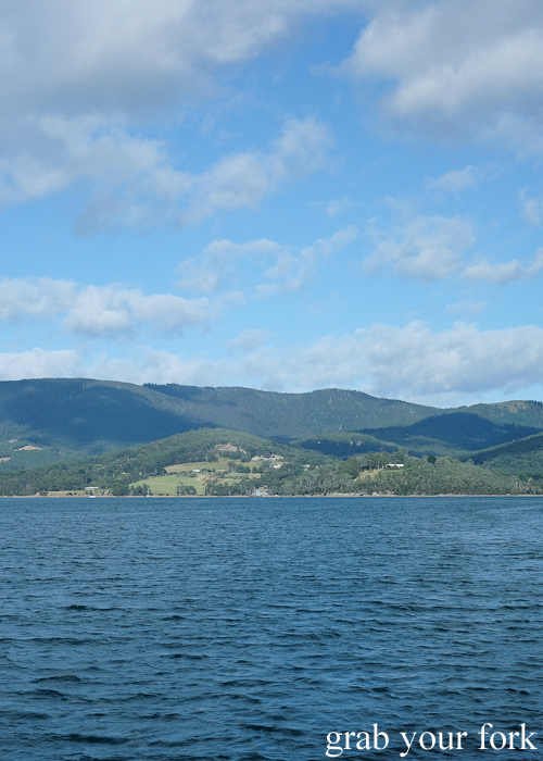 Approaching Bruny Island in Tasmania