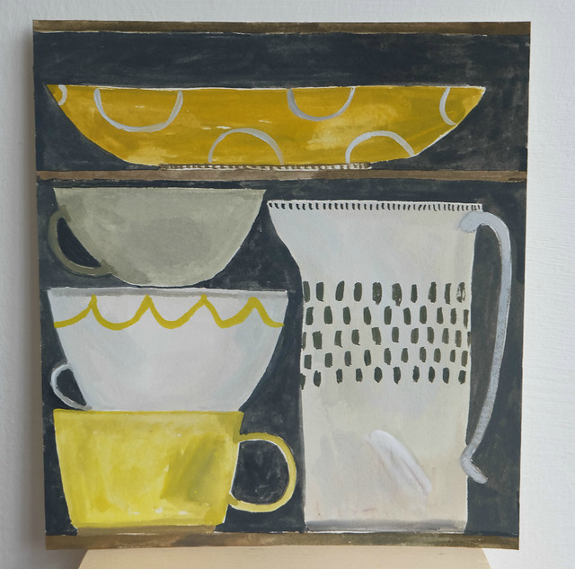 still life with yellow cup and patterned jug