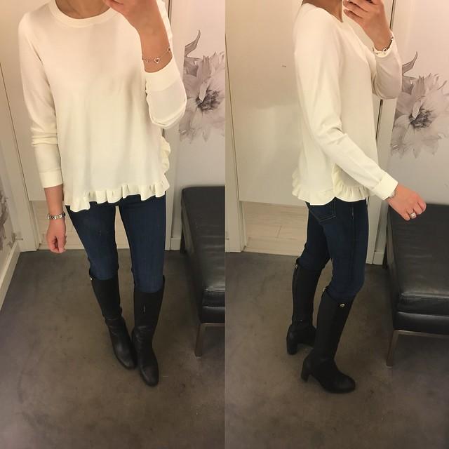Ann Taylor Ruffle Hem Sweater, size M regular