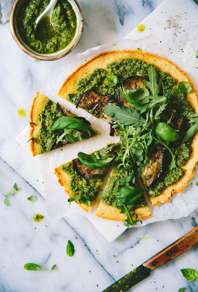Socca Pizza with Vegan Sunflower Pesto, Aubergine & Arugula | Cashew Kitchen