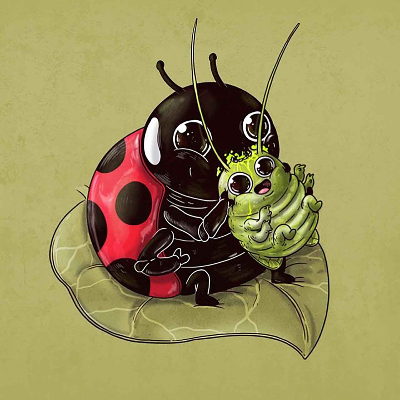 "Artist Creates Extremely Adorable ""Predator & Prey"" Illustrations #30: Ladybug & Aphid"