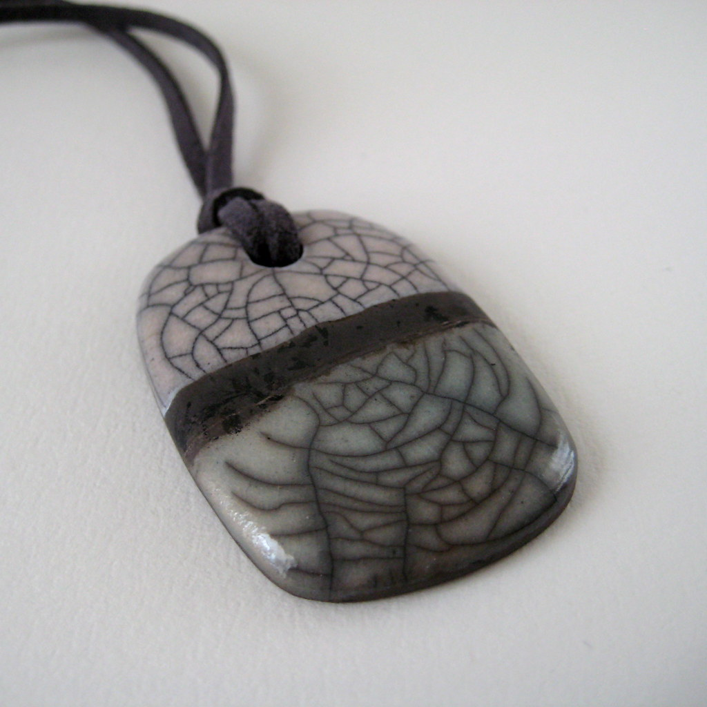 Raku pendant soft green and white crackle pendant raku s flickr raku pendant by jude allman aloadofball Gallery
