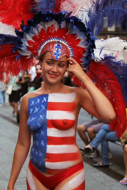 Women In Times Square In Nyc Wearing Only Body Paint -4352