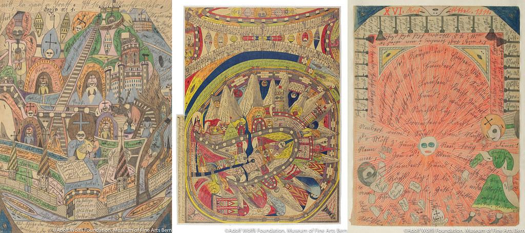 左)《デンマークの島 グリーンランドの南=端》(1910年) 中)《ネゲルハル[黒人の響き] 》(1911年) 06 《エン湖での開戦.アメリカ》(1911年) ベルン美術館 アドルフ・ヴェルフリ財団蔵