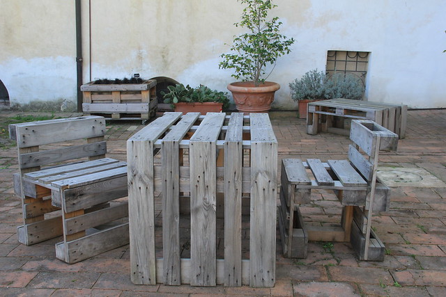Furniture made out of old pallets, San Gimignano