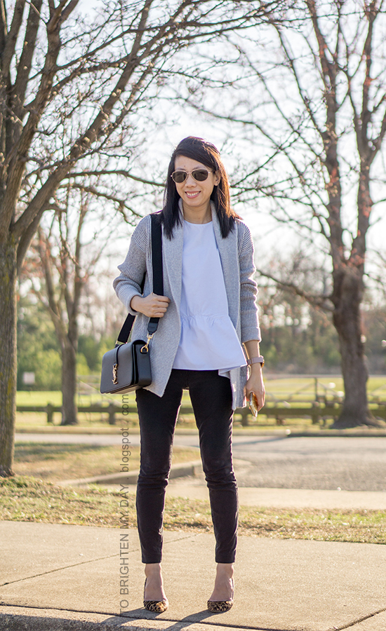 gray coatigan sweater, baby blue peplum top, black skinny jeans, black shoulder bag, oversized watch, leopard pumps