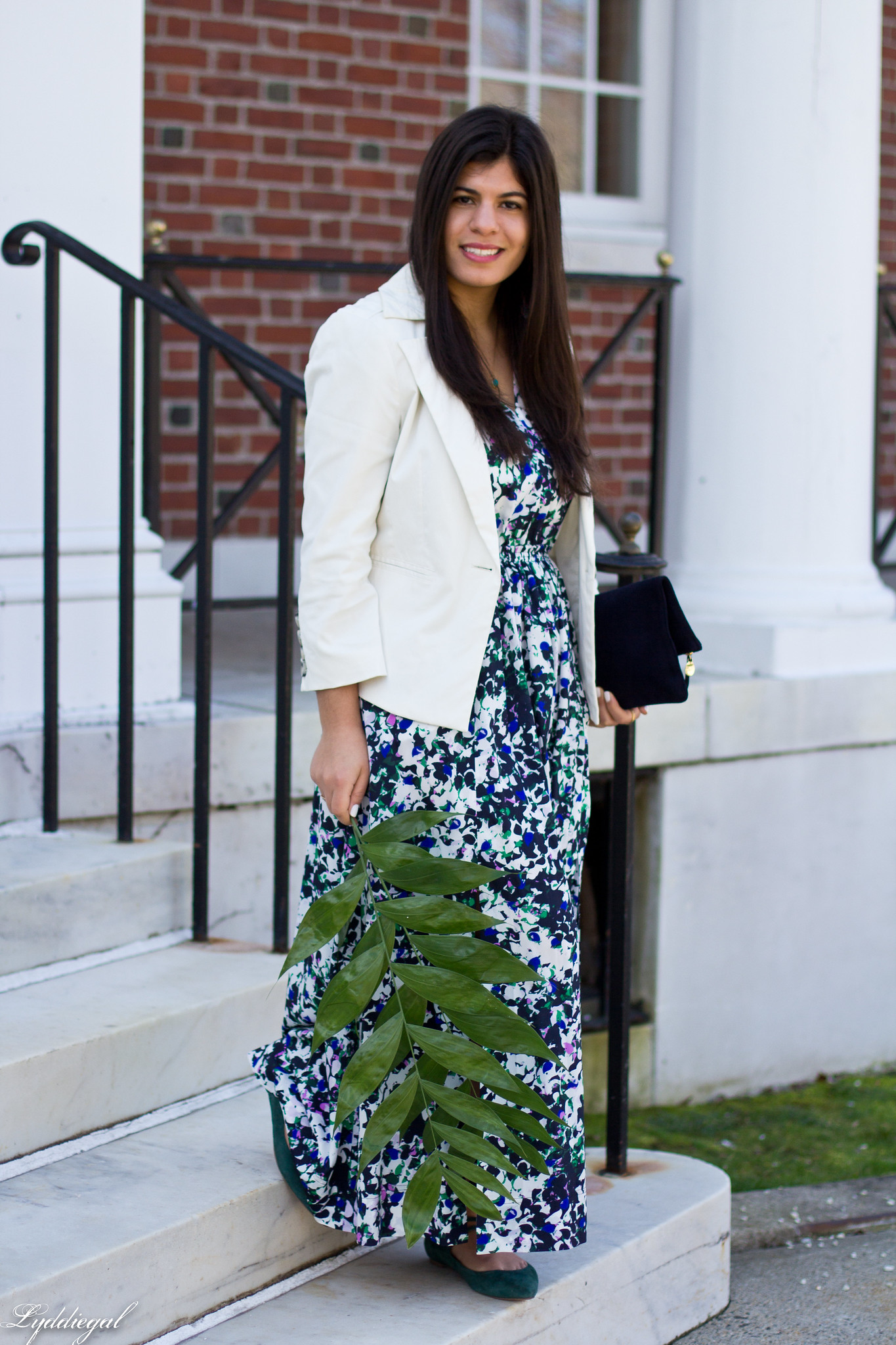 floral maxi dress, white blazer, green flats, clare v clutch-1.jpg