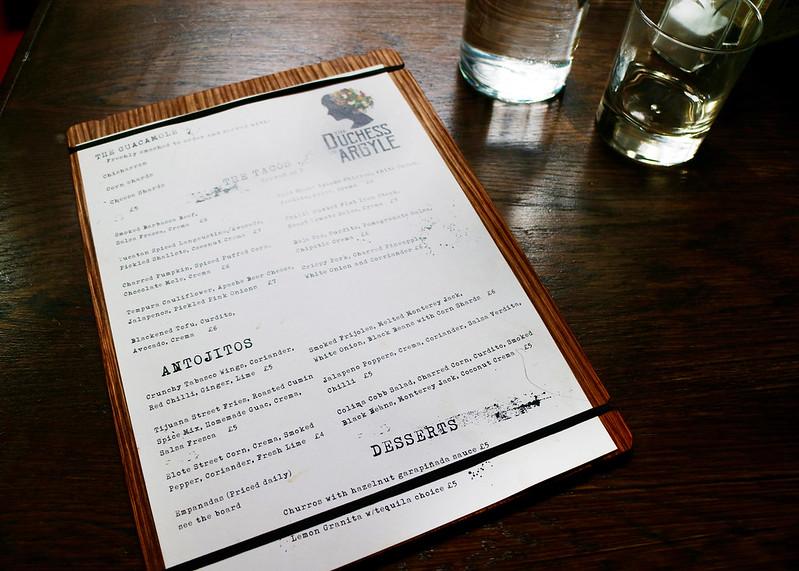 Duchess Of Argyll menu