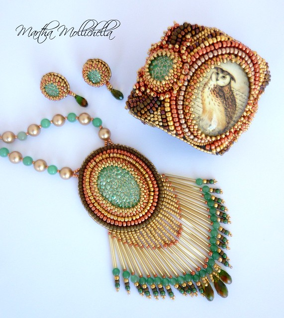 Owl jewels barn owl jewelry by Martha Mollichella