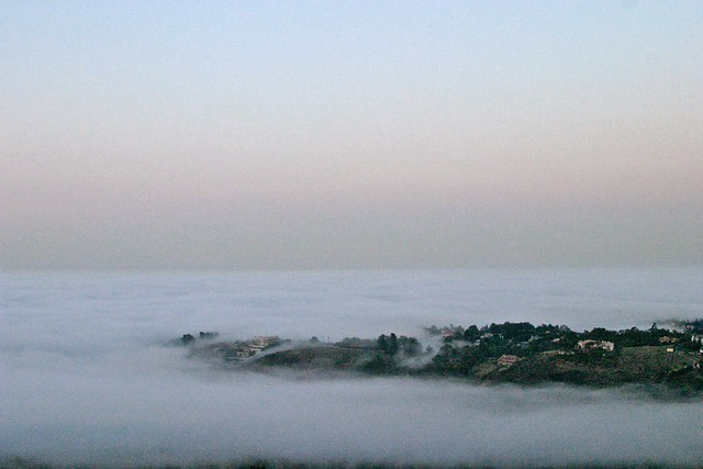 above the fog in Malibu