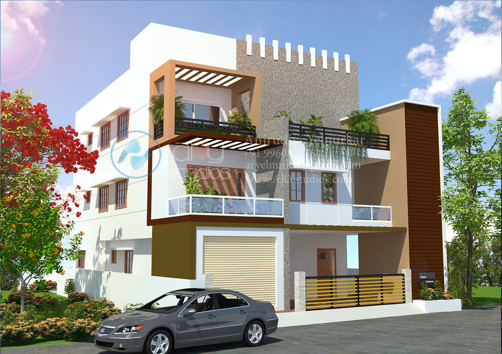 3dbungalowrenderingarchitecturaldayviewrealistickerala - Small Bungalow Elevation
