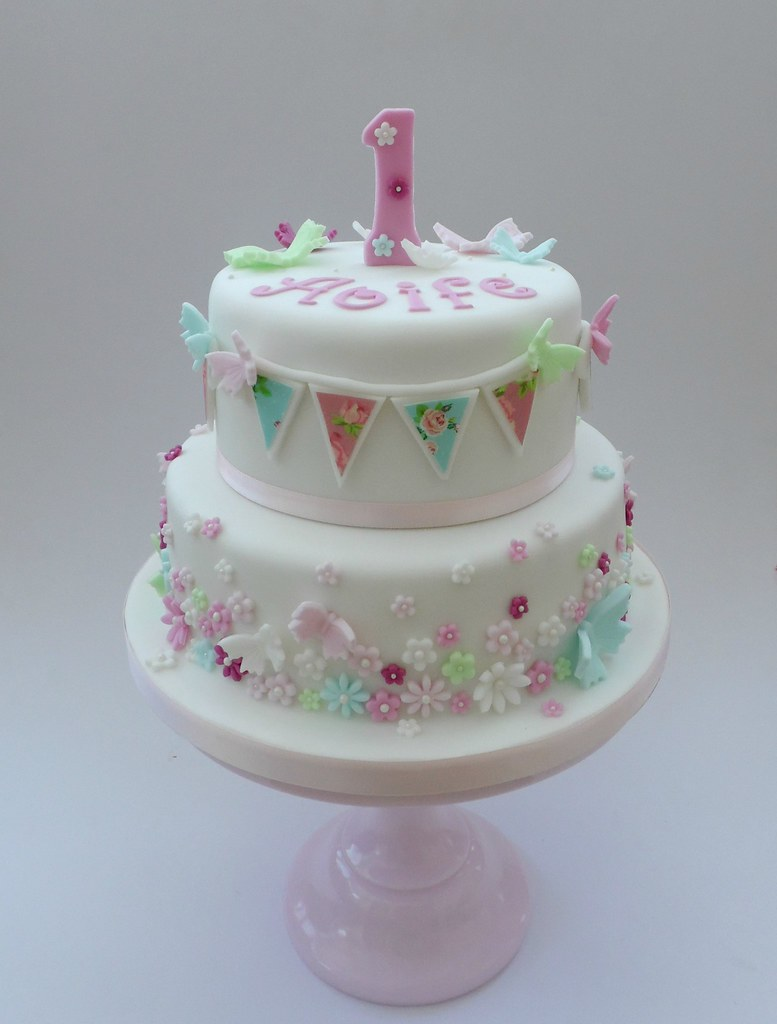 1st Birthday Christening Cake With Bunting Butterflies And Flowers Theme